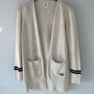 Element eden cardigan, off-white with black stripes on the sleeves size large